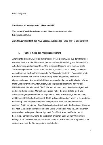 Von Hartz IV und Grundeinkommen. Menschenrecht auf eine ...