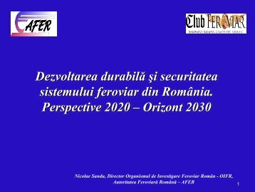 Nicolae Sandu - Club Feroviar Conferences