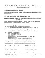 Chapter 18: Oxidation-Reduction (Redox) Reactions and ...
