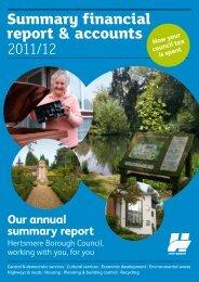 Winter 2012 - financial insert - Hertsmere Borough Council