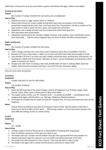KCO Fact Sheet: Tent Games