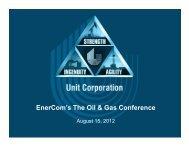 EnerCom's The Oil & Gas Conference - Unit Corporation