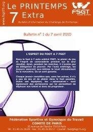 Bulletin n° 1 du 7 avril 2010 - Le challenge du Printemps FSGT
