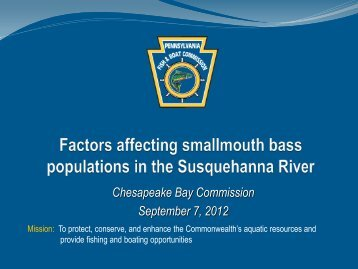 Factors Affecting Smallmouth Bass Populations in the Susquehanna ...