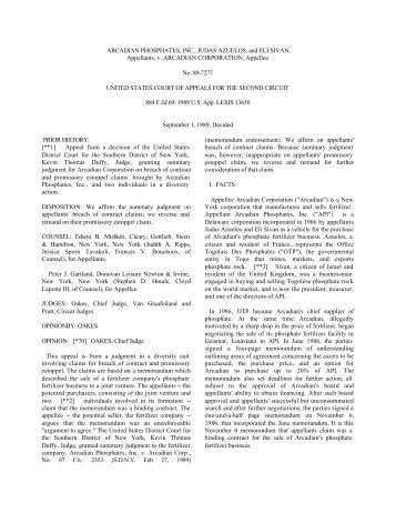 ARCADIAN PHOSPHATES, INC., JUDAS AZUELOS, and ... - uccstuff
