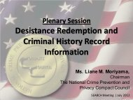 Desistance Redemption and Criminal History Record Information