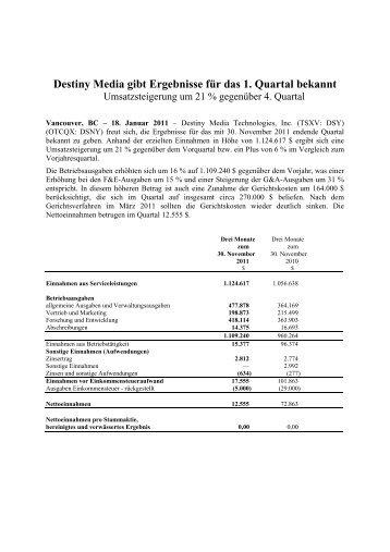 Destiny Media gibt Ergebnisse für das 1. Quartal bekannt - IRW-Press