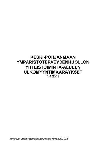 Keski-Pohjanmaan ulkomyyntimääräykset 2013 - Kokkola