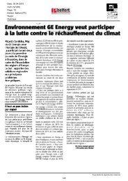 invironnement GE Energy veut participer i la lutte ... - Frank Farnel
