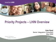 Priority Projects – LHIN Overview - Central East Local Health ...