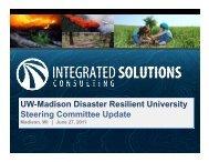 UW-Madison Disaster Resilient University Steering Committee Update