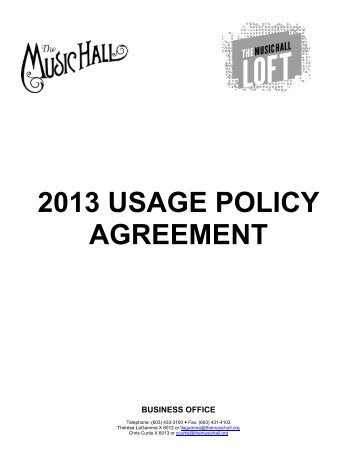2013 USAGE POLICY AGREEMENT - The Music Hall