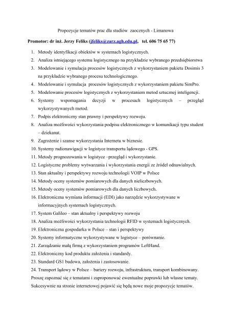 Tematy prac dyplomowych na rok 2006/2007 - Katedra Zarządzania ...