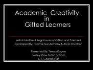 Academic Creativity in Gifted Learners - Valley View School