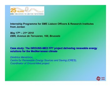 The GROUND-MED FP7 project delivering - European BIC Network