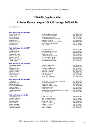 Offizielle Ergebnisliste 3. Swiss Karate League 2009, Fribourg