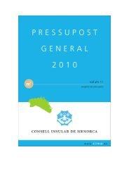 Pressupost 2010 vol. I - Consell Insular de Menorca