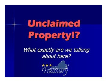 Unclaimed Property Information You Should Know - Virginia ...