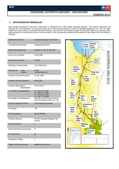 mop concesión autopista santiago – san antonio febrero 2012