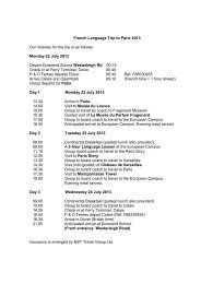 French Language Trip to Paris 2013 Our itinerary ... - Downend School
