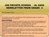 Grade 4 Newsletter for the month of October 2012 - JSS Private School
