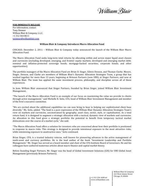 William Blair & Company Introduces Macro Allocation Fund (PDF)