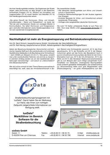 Januar 2012, Kommunalwirtschaft Heft 01/2012 Nachhaltigkeit ist