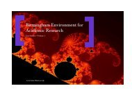 Birmingham Environment for Academic Research - University of ...