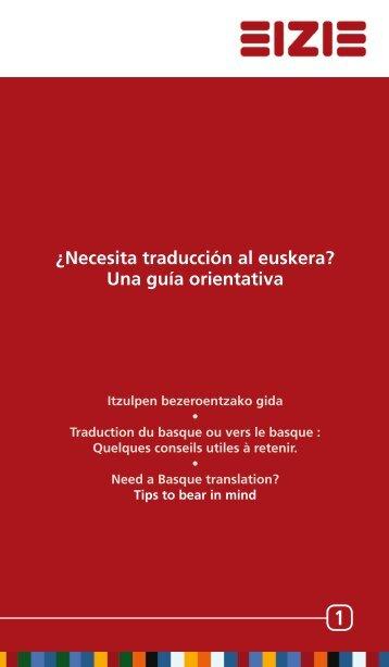 ¿Necesita traducción al euskera? Una guía orientativa - IVAP