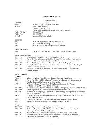 1 CURRICULUM VITAE Arthur Kleinman ... - Academic Room