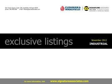 Exclusive Industrial Listings - Signature Associates