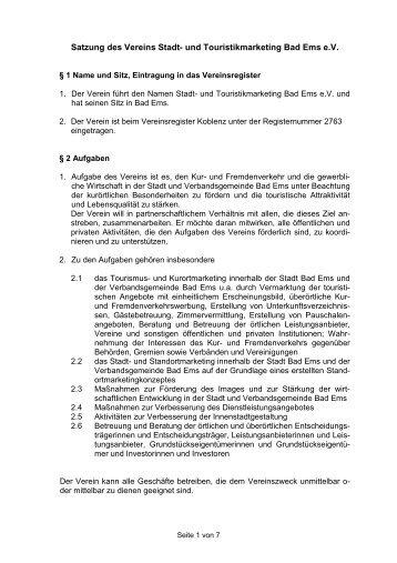 Satzung des Vereins Stadt- und Touristikmarketing Bad Ems e.V.