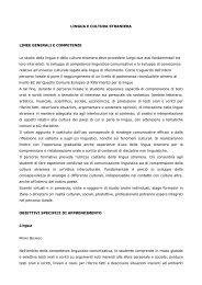 LINGUA E CULTURA STRANIERA LINEE GENERALI E ...