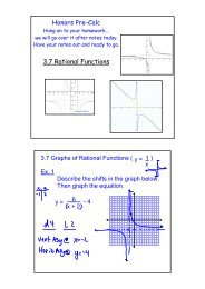 Honors Pre-Calc 3.7 Rational Functions