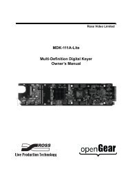 MDK-111A-Lite Owner's Manual - Ross Video