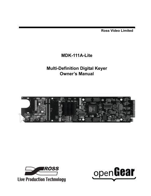 MDK-111A-Lite Owner's Manual - Ross Video
