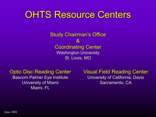 View PowerPoint Presentation - Vision Research Coordinating Center
