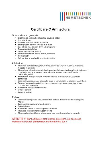 Certificare C Arhitectura - Nemetschek