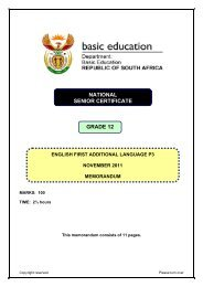 English FAL Grade 12 Paper 3 2011 – Memo - Teacher's Monthly