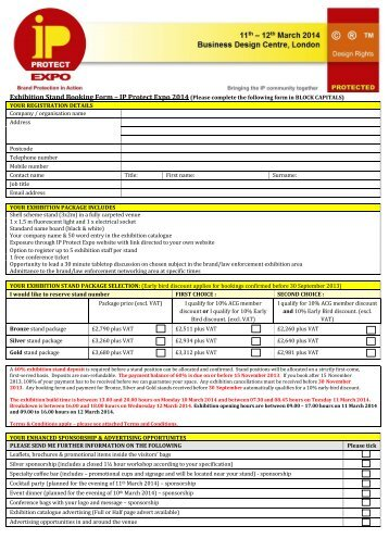 Exhibition Stand Application Form : Exhibition booking form goca exhibitions