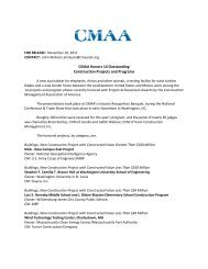 CMAA Honors 14 Outstanding Construction Projects, Programs