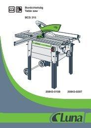 Bordcirkelsåg Table saw BCS 315 20843-0108 20843-0207