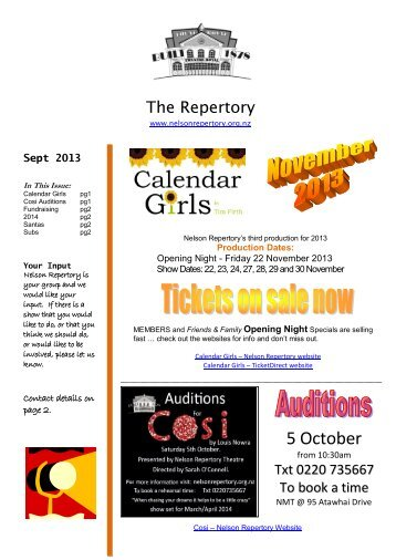September 2013 - Nelson Repertory Theatre