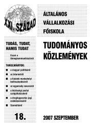TUDOMÁNYOS KÖZLEMÉNYEK 18. - Általános Vállalkozási Főiskola