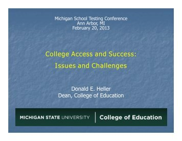 College Access and Success: Issues and Challenges
