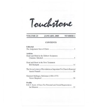 Volume 23, January. 2005, Number 1 - Touchstone Journal