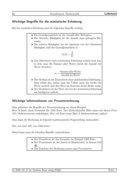 Prozentrechnung Und Statistik Treminerde