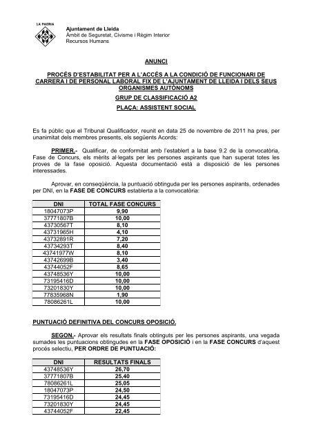 Fase concurs i resultats finals - Ajuntament de Lleida
