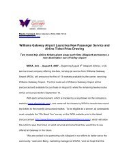 Williams Gateway Airport Launches New Passenger Service and ...