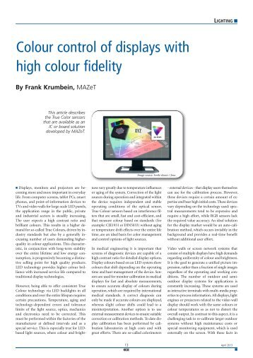 Colour control of displays with high colour fidelity - ICC Media GmbH